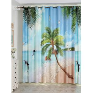 Beach Landscape Shading Living Room Window Curtain - Azure - 150*200cm