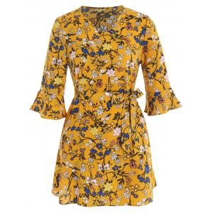 Floral V Neck Plus Size Dress With Belt