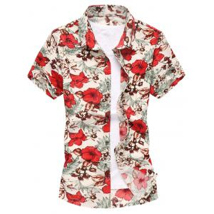 Turn Down Collar Flower Shirt