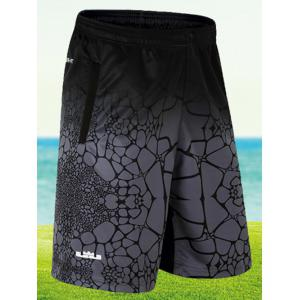 Elastic Waist Printed Board Shorts - Deep Gray - 4xl