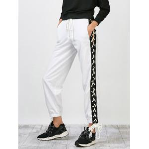 Side Lace Up Jogger Pants - White - M