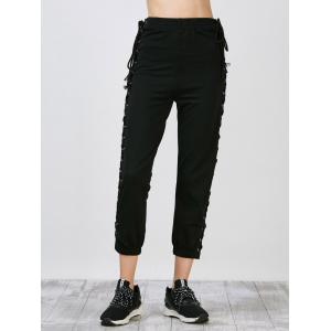 Side Lace Up High Waisted Streetwear Pants - BLACK L