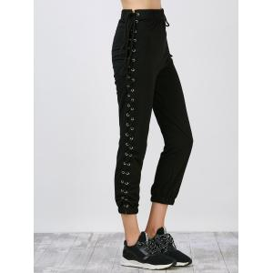 Side Lace Up High Waisted Streetwear Pants - Black - L