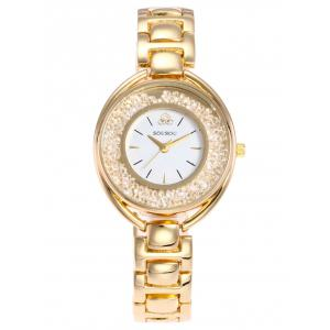 SOUSOU Alloy Band Analog Rhinestone Watch
