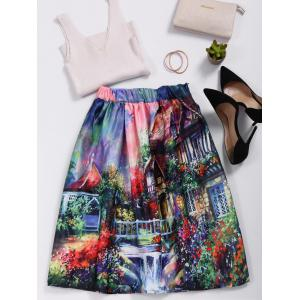 High Waisted Ornate Print Skater Skirt - COLORMIX ONE SIZE