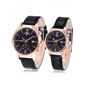 SOUSOU Faux Leather Strap Date Couple Watches