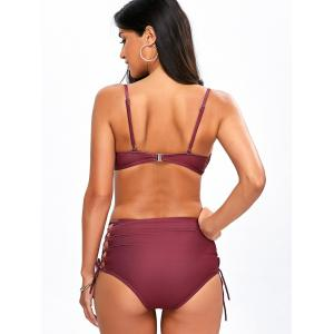 High Waist Lace Up Print Bikini Suit - WINE RED XL