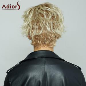 Fluffy Straight Blonde Brown Mixed Synthetic Spiffy Short Haircut Wig For Women -