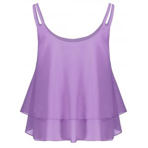 Layered Double Straps Chiffon Cami Top