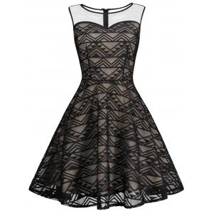 Mesh Panel Skater Homecoming Formal Dress