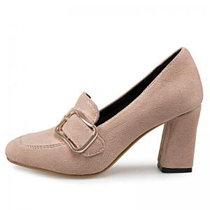 Block Heel Square Toe Pumps - APRICOT 37