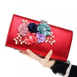 Beaded Flowers Evening Clutch Bag - Red