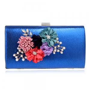 Beaded Flowers Evening Clutch Bag - ROYAL