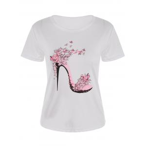 High Heel Print Short Sleeve T-Shirt