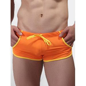 Low Waist Trimmed Swimming Trunks - Orange - S
