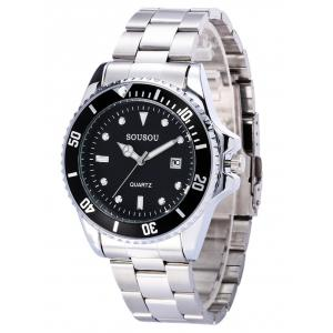 SOUSOU Metallic Strap Analog Date Watch -