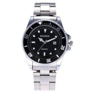 SOUSOU Metallic Strap Analog Date Watch