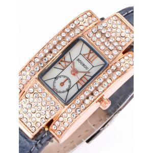 SOUSOU Faux Leather Rhinestone Rectangle Watch -