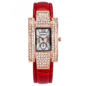 SOUSOU Faux Leather Rhinestone Rectangle Watch - Red - W16 Inch * L47 Inch