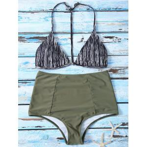 Striped High Waist Bikini Suits - Colormix - Xl