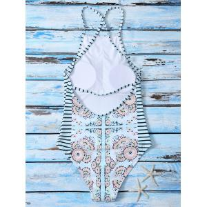 Cute High Neck Printed Cut Out Swimsuit - COLORMIX S