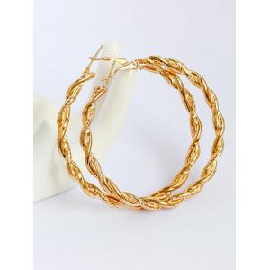 Alloy Braid Big Hoop Earrings - Golden