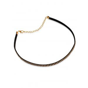 Faux Leather Velvet Rivets Choker Necklace