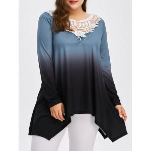 Plus Size Crochet Trim Ombre Tunic T-Shirt