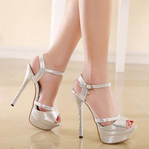 Platform Metallic Color Sandals - Silver - 37