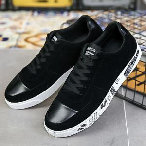 Lace Up Faux Leather Insert Casual Shoes -