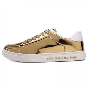 Patent Leather Tie Up Casual Shoes - GOLDEN 44