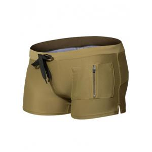 Zipper Pocket Drawstring Swimming Trunks