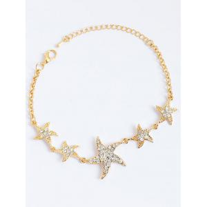 Rhinestone Embellished Starfish Gold Plated Chain Bracelet - Golden - Xl