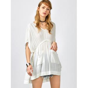 Pockets Drawstring Kaftan Coverup Dress