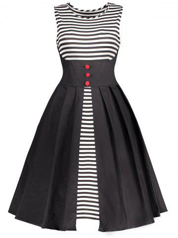 Stripe Panel Vintage Sleeveless Flare Dress - White And Black - L