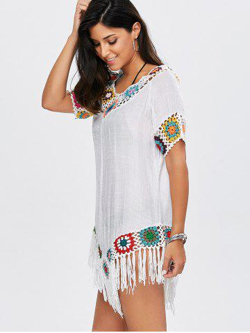 Sale Flower Crochet Tassel Flowy Tunic Cover-Up - ONE SIZE WHITE Mobile