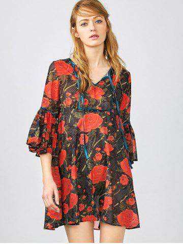 Fashion 3/4 Sleeve Floral Smock Blouse RED XS