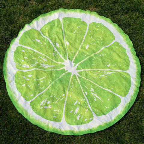 Sale Lemon Slice Shape Polyster Round Beach Throw LEMON GREEN ONE SIZE
