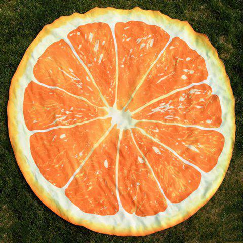 Latest Lemon Slice Shape Polyster Round Beach Throw SWEET ORANGE ONE SIZE