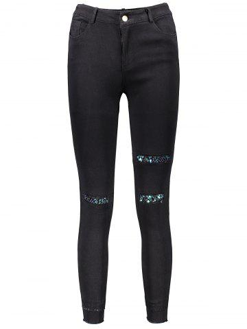 Outfit Sequin Embellished Skinny Leg Ripped Pencil Pants BLACK XL