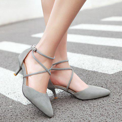 Shop Cross Straps Suede Pumps