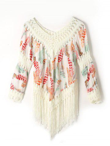 Fringed Feather Print Cover Up - White - One Size