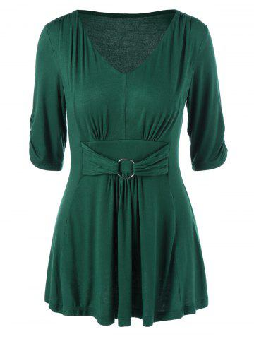 Affordable Empire Waist Peplum T-Shirt with O Ring