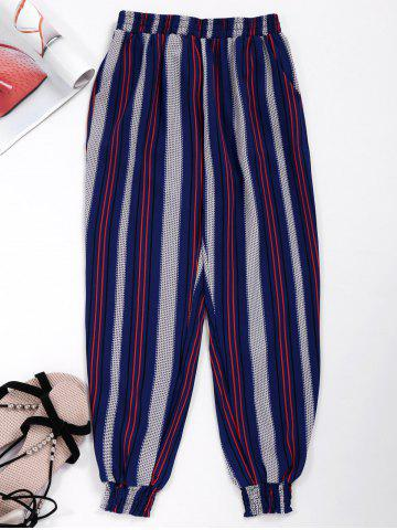 Contrast Striped Cropped Jogger Pants - Red And White And Blue - M