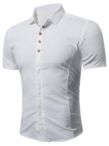À manches courtes multi Bottoned shirt Blanc 4XL
