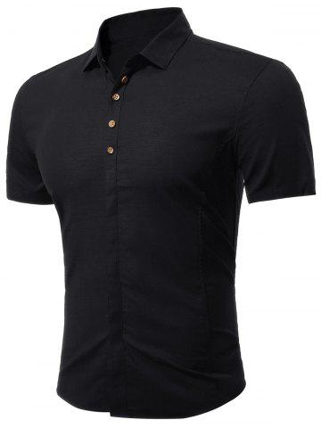 À manches courtes multi Bottoned shirt Noir 2XL