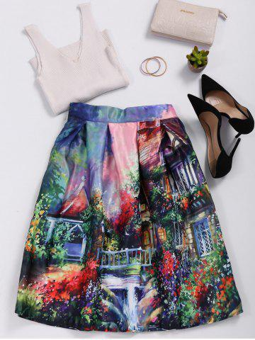 Sale High Waisted Ornate Print Skater Skirt COLORMIX ONE SIZE