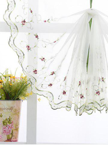 Hot Roman Style Rose Embroidery Tull Curtain For Bedroom - 80*100CM WHITE Mobile