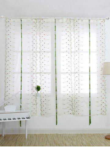 Discount Roman Style Rose Embroidery Tull Curtain For Bedroom - 80*100CM WHITE Mobile