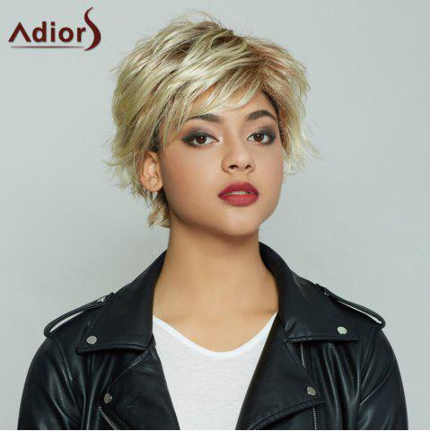 Cheap Fluffy Straight Blonde Brown Mixed Synthetic Spiffy Short Haircut Wig For Women